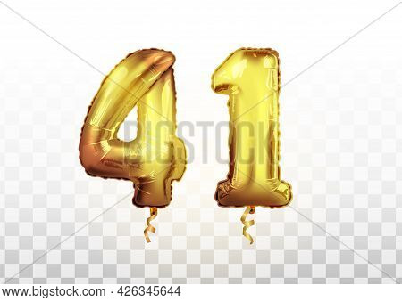 Vector Golden Foil 41 Number Forty One Metallic Balloon. Party Decoration Golden Balloons. Anniversa