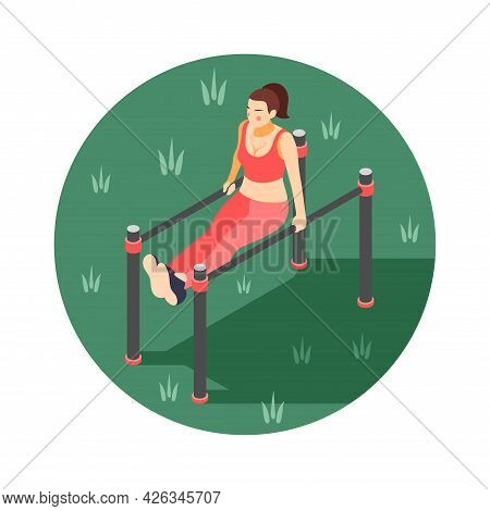 Isometric Round Body Workout Composition With Woman Exercising On Parallel Bars Outdoors 3d Vector I