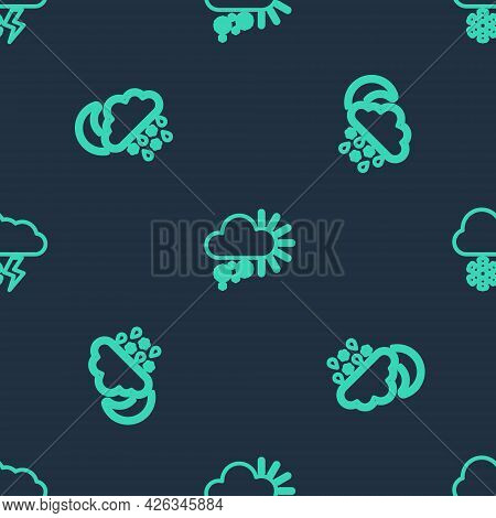 Set Line Cloudy With Snow, Snow, Rain, Moon And And Lightning On Seamless Pattern. Vector