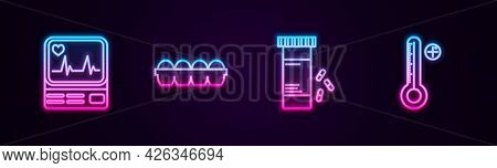 Set Line Monitor With Cardiogram, Chicken Egg In Box, Medicine Bottle And Pills And Medical Digital