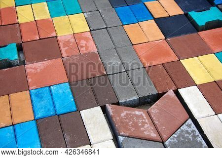 Cement Paving Stones. Samples Of Building Materials Of Different Colors And Shapes. Copy Space