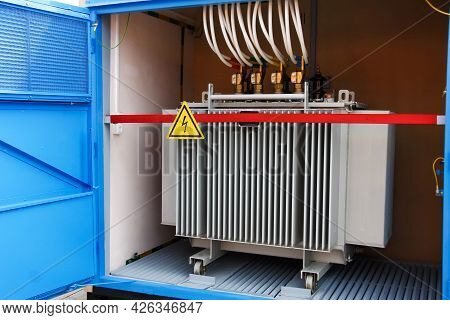 Electric Transformer Box. Electrical Distribution Equipment For A Small Home Or Industrial Building.