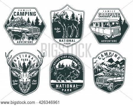 Outdoor Recreation Vintage Monochrome Emblems With Deer Head Bison Moose Travel Bus And Cars Differe