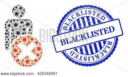 Viral Collage Delete Man Icon, And Grunge Blacklisted Seal Stamp. Delete Man Mosaic For Epidemic Ima