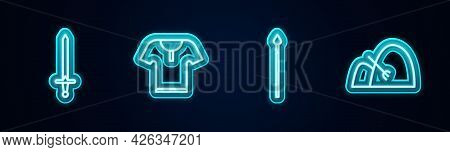 Set Line Medieval Sword, Body Armor, Spear And Bale Of Hay And Rake. Glowing Neon Icon. Vector