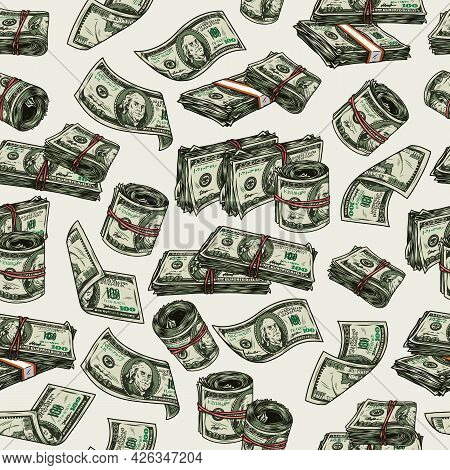 Money Vintage Colorful Seamless Pattern With Falling One Hundred Us Dollar Bills Rolls And Stacks Of