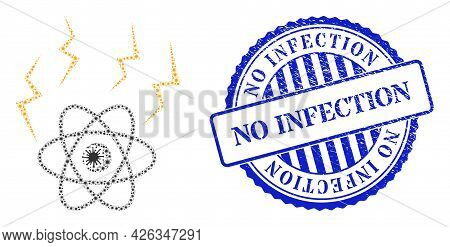Bacterium Collage Atomic Emission Icon, And Grunge No Infection Seal Stamp. Atomic Emission Mosaic F
