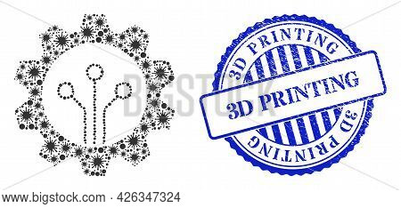 Bacilla Collage Gear Sensor Icon, And Grunge 3d Printing Badge. Gear Sensor Collage For Breakout Ima