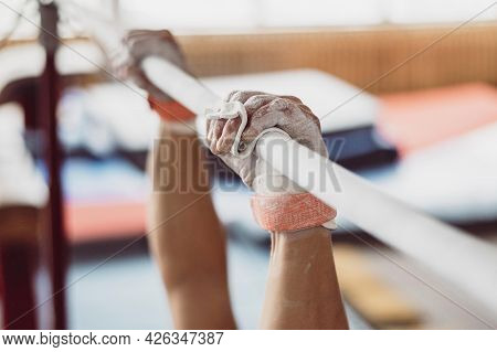 Man Training With Parallel Bars. High Quality Beautiful Photo Concept