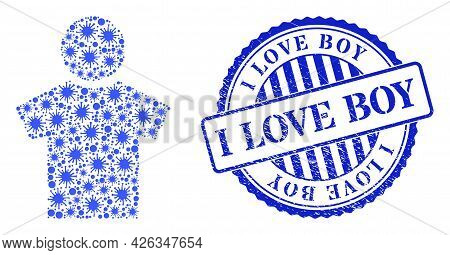 Covid Mosaic Boy Icon, And Grunge I Love Boy Seal Stamp. Boy Mosaic For Isolation Images, And Grunge