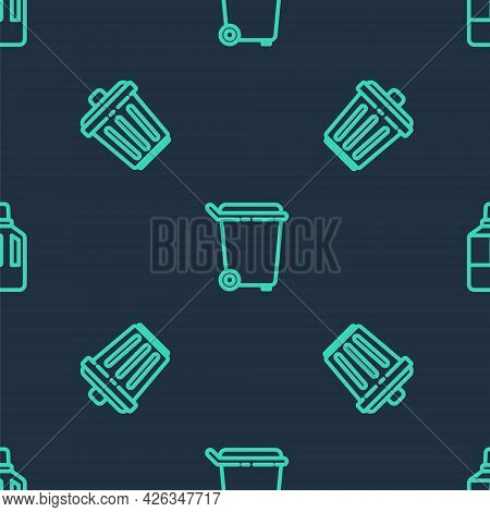 Set Line Trash Can, And Fabric Softener On Seamless Pattern. Vector