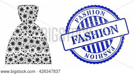 Covid Mosaic Bride Dress Icon, And Grunge Fashion Stamp. Bride Dress Collage For Medical Images, And