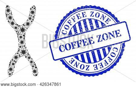 Bacterium Collage Chromosome Icon, And Grunge Coffee Zone Seal Stamp. Chromosome Collage For Isolati