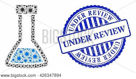 Cell Mosaic Closed Retort Icon, And Grunge Under Review Seal. Closed Retort Mosaic For Pandemic Imag