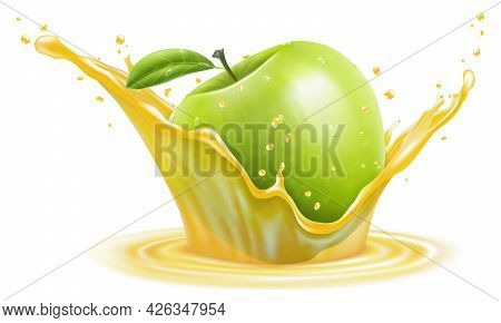 Apple In A Transparent Splash Of Juice, Isolated On White Background. Realistic 3d Vector. Editable