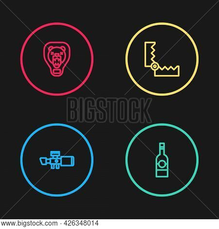 Set Line Sniper Optical Sight, Bottle Of Vodka, Trap Hunting And Bear Head On Shield Icon. Vector