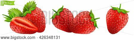 Strawberry. Realistic 3d Isolated Vector Illustration. Strawberries With Leaf On White Background. S