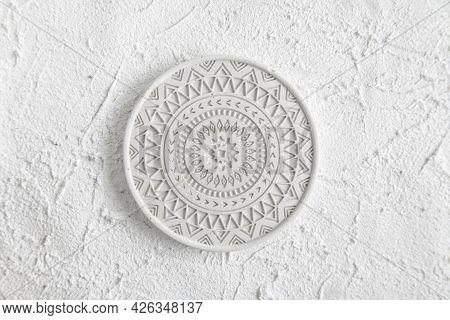 Decor Home Gypsum. Handmade Concrete. Round Coffe Coaster On Concrete Background. White Plate On Whi