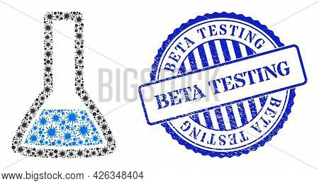 Covid-2019 Mosaic Chemical Retort Icon, And Grunge Beta Testing Seal. Chemical Retort Collage For Pa