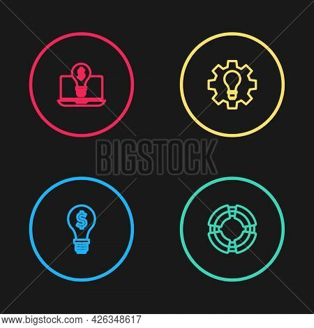Set Line Light Bulb With Dollar, Business Lifebuoy, And Gear And On Laptop Icon. Vector