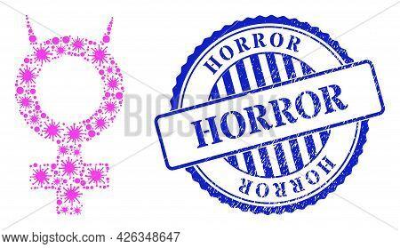 Virulent Mosaic Devil Female Symbol Icon, And Grunge Horror Seal. Devil Female Symbol Collage For Me