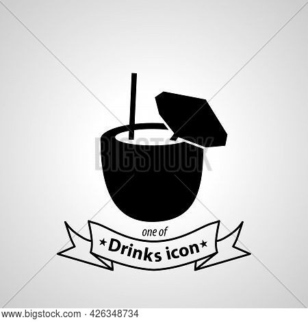 Coconut Cocktail Sign. Coconut Cocktail Isolated Simple Vector Icon