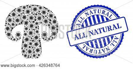 Bacterium Collage Champignon Mushroom Icon, And Grunge All Natural Seal Stamp. Champignon Mushroom C