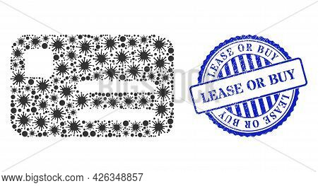 Covid Collage Banking Card Icon, And Grunge Lease Or Buy Seal Stamp. Banking Card Collage For Medica