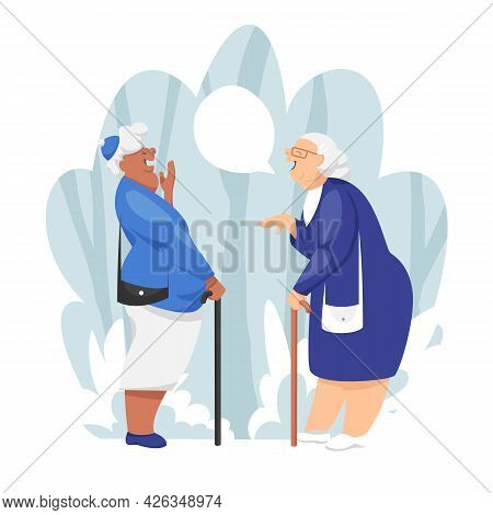Funny Grannies. Older Women Laugh. Two Old Girlfriends. Vector Illustration