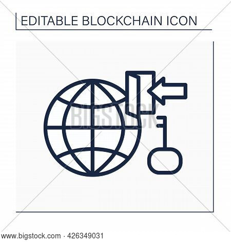 Network Access Line Icon. Cryptocurrency Services And Functions. Virtual Wallet. Digital Money, Fina