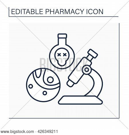 Toxicology Line Icon. Study Of Poisons And Scientific Discipline. Research And Development. Pharmacy