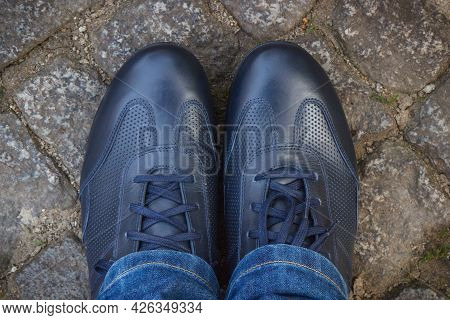 Comfortable Casual Navy Blue Leather Shoes For Men On Road Or Footpath Made Of Rocks Or Stones. Male