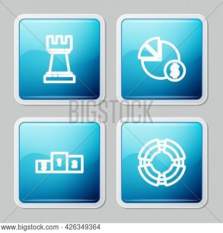 Set Line Chess, Pie Chart And Dollar, Business Podium And Lifebuoy Icon. Vector