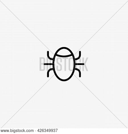Bug Vector Icon. Insect. Software Bug Symbol, Security Threat.