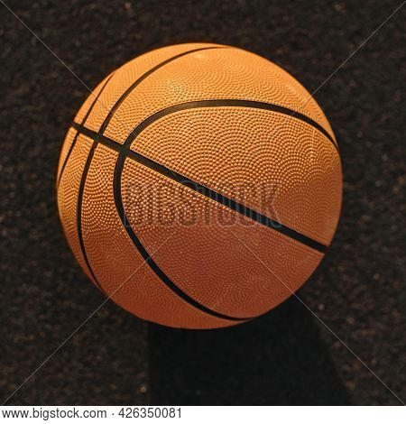 High Angle Basketball Field Close Up. High Quality Beautiful Photo Concept