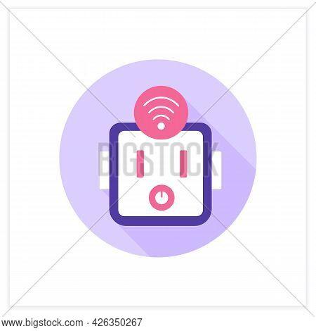 Smart Socket Outlet Flat Icon. Smart And Safety House. Digital Smart Technologies Concept. Color Vec