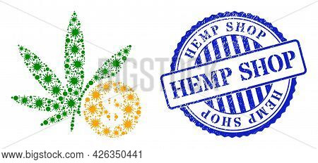 Covid-2019 Collage Cannabis Investing Icon, And Grunge Hemp Shop Seal Stamp. Cannabis Investing Coll