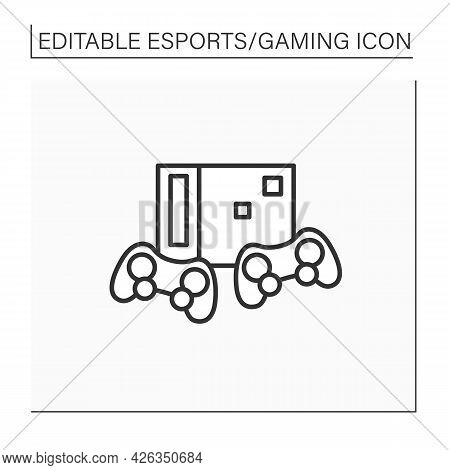 Video Game Console Line Icon. Electronic Gaming Console And Wireless Joysticks. Control Column. Onli