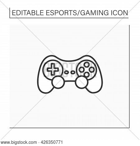 Joystick Line Icon. Input Device. Control Column. Playing Video Game Tools. Technical Equipment. Cyb