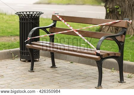 Lokdown In The Coronavirus Epidemic. Closed Parks And Recreation Areas. The Bench For Rest Is Overst