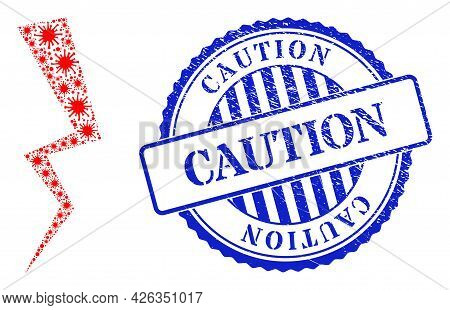 Cell Mosaic Electric Strike Icon, And Grunge Caution Seal Stamp. Electric Strike Mosaic For Breakout