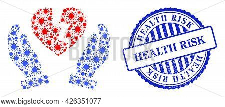 Covid-2019 Collage Broken Heart Protection Hands Icon, And Grunge Health Risk Stamp. Broken Heart Pr