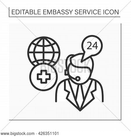 Medical Assistance Line Icon. Consumer Support Day-and-night. Consultation About Serious Illness, Tr