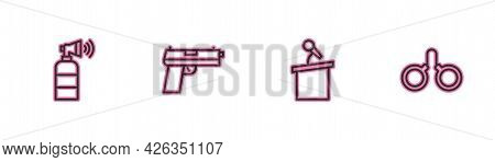 Set Line Air Horn, Stage Stand Tribune, Pistol Gun And Handcuffs Icon. Vector