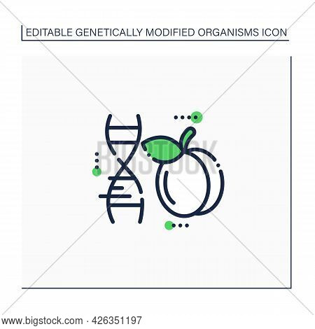 Plum Line Icon. Genetically Modified Plum. Gmo Product. Improving Genes. Microbiology. Genetically M