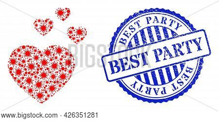 Virus Collage Favorite Hearts Icon, And Grunge Best Party Seal. Favorite Hearts Collage For Pandemic