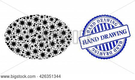 Bacterium Mosaic Ellipse Icon, And Grunge Hand Drawing Seal Stamp. Ellipse Collage For Medical Image