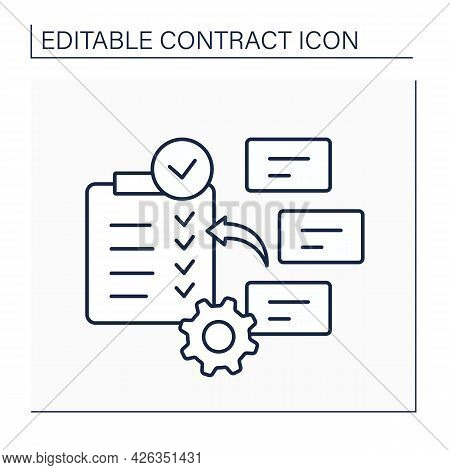 Subject To Contract Line Icon. Label Notification About Negotiating. Legally Binding.contract Concep