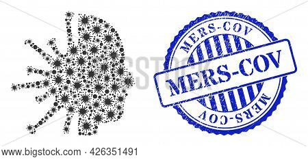 Coronavirus Collage Coronavirus Man Head Icon, And Grunge Mers-cov Stamp. Coronavirus Man Head Colla