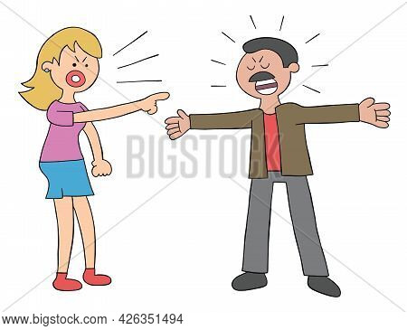 Cartoon Wife And Husband Angry And Arguing, Vector Illustration. Colored And Black Outlines.